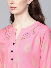 Load image into Gallery viewer, Women Pink & Golden Printed Kurta with Palazzos