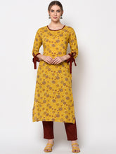 Load image into Gallery viewer, Yufta Women Mustard Yellow & Grey Printed A-Line Kurta
