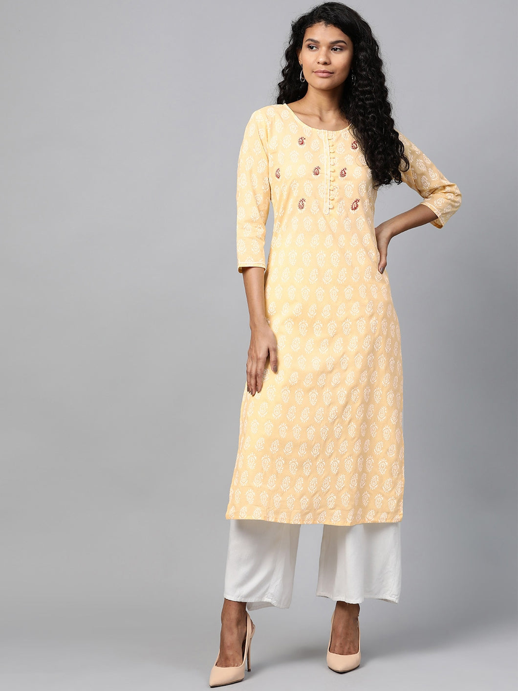 Yufta Women Yellow & White Paisley Print Straight Kurta
