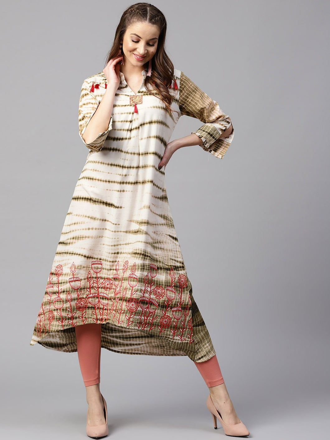 Yufta Women Off-White & Olive Green Printed A-Line Kurta
