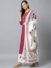 Load image into Gallery viewer, Yufta Women Voilet And White Embroidered Kurta with Handblock Printed Sharara and Dupatta
