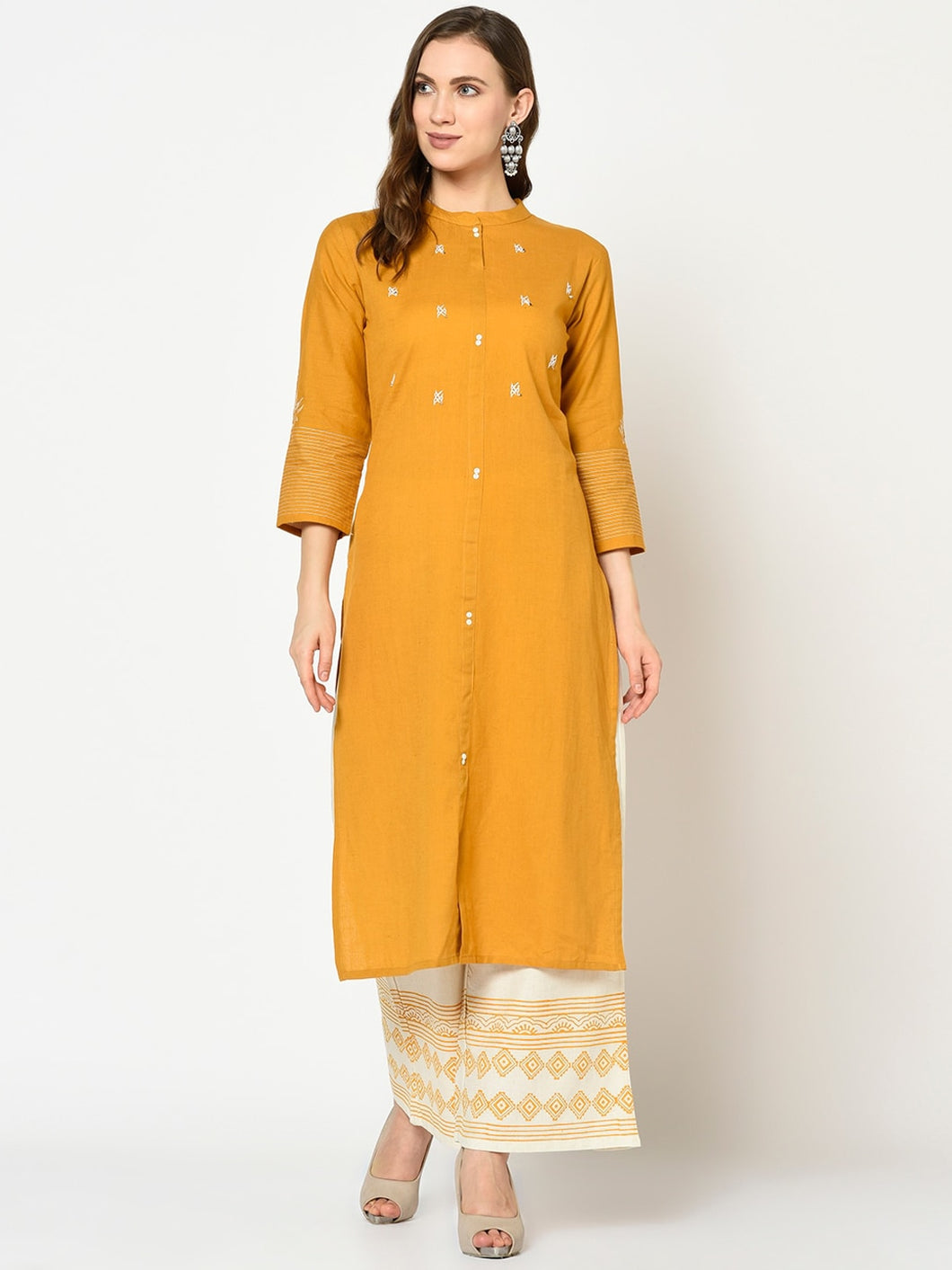 Yufta Women Mustard Yellow & White Yoke Design Kurta with Palazzos