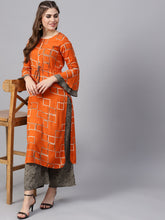 Load image into Gallery viewer, Yufta Women Orange & Grey Printed Kurta with Palazzos