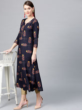 Load image into Gallery viewer, Yufta Women Navy Blue & Pink Printed A-Line Kurta