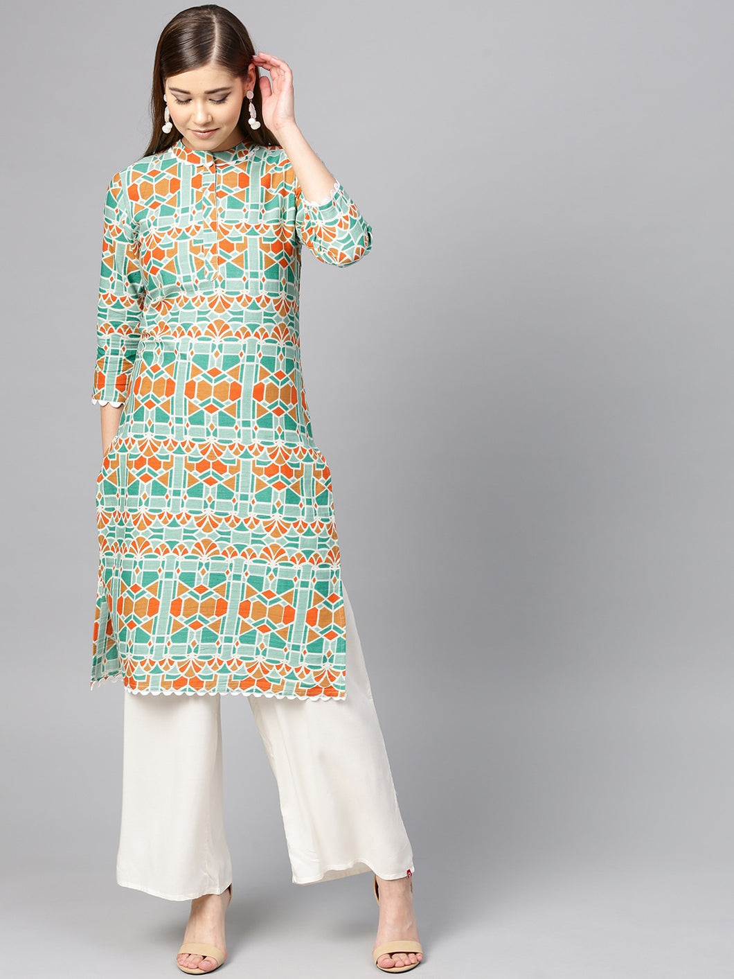 Yufta Women Green & Orange Printed Straight Kurta-S-Green