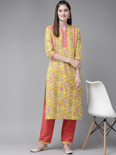 Load image into Gallery viewer, Yufta Women Yellow & Coral Pure Cotton Printed Kurta with Trousers