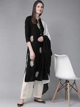 Load image into Gallery viewer, Yufta Women Black & Cream Coloured Embroidered Kurta with Palazzos & Dupatta