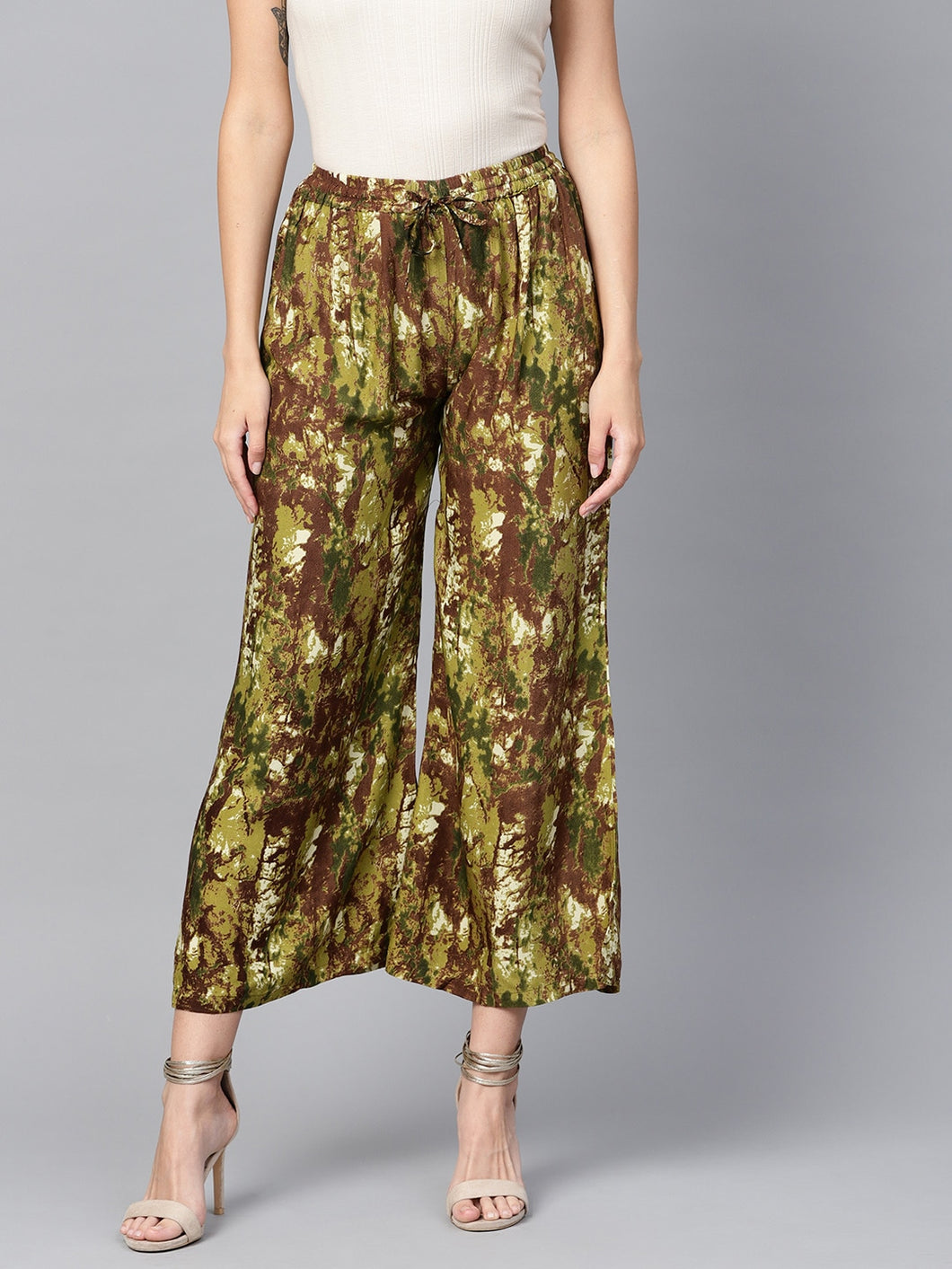 Yufta Women Green & Brown Printed Straight Palazzos