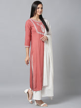 Load image into Gallery viewer, Yufta Women Pink and White Embroidered Kurta with Palazzo and Dupatta