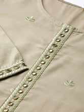 Load image into Gallery viewer, Yufta Women Olive Green Embroidered Kurta with Palazzos