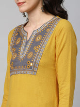Load image into Gallery viewer, Embroidered Cotton Dobby Kurta with hand block palazzo