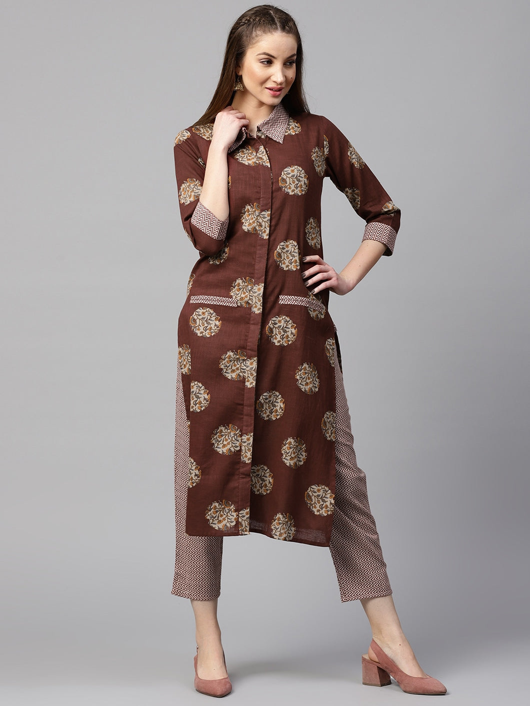 Yufta Women Brown & Off-White Printed Kurta with Trousers