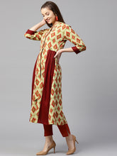 Load image into Gallery viewer, Yufta Women Maroon & Green Printed A-Line Kurta
