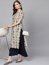 Load image into Gallery viewer, Women Beige & Blue Printed Kurta with Palazzos