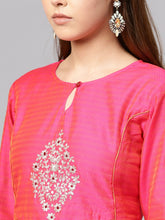Load image into Gallery viewer, Yufta Women Pink Pittan Work Dual-Toned A-Line Kurta