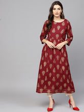 Load image into Gallery viewer, Yufta Women Maroon & Golden Printed A-Line Kurta