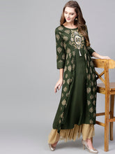 Load image into Gallery viewer, Yufta Women Olive Green & Golden Printed Layered A-Line Kurta
