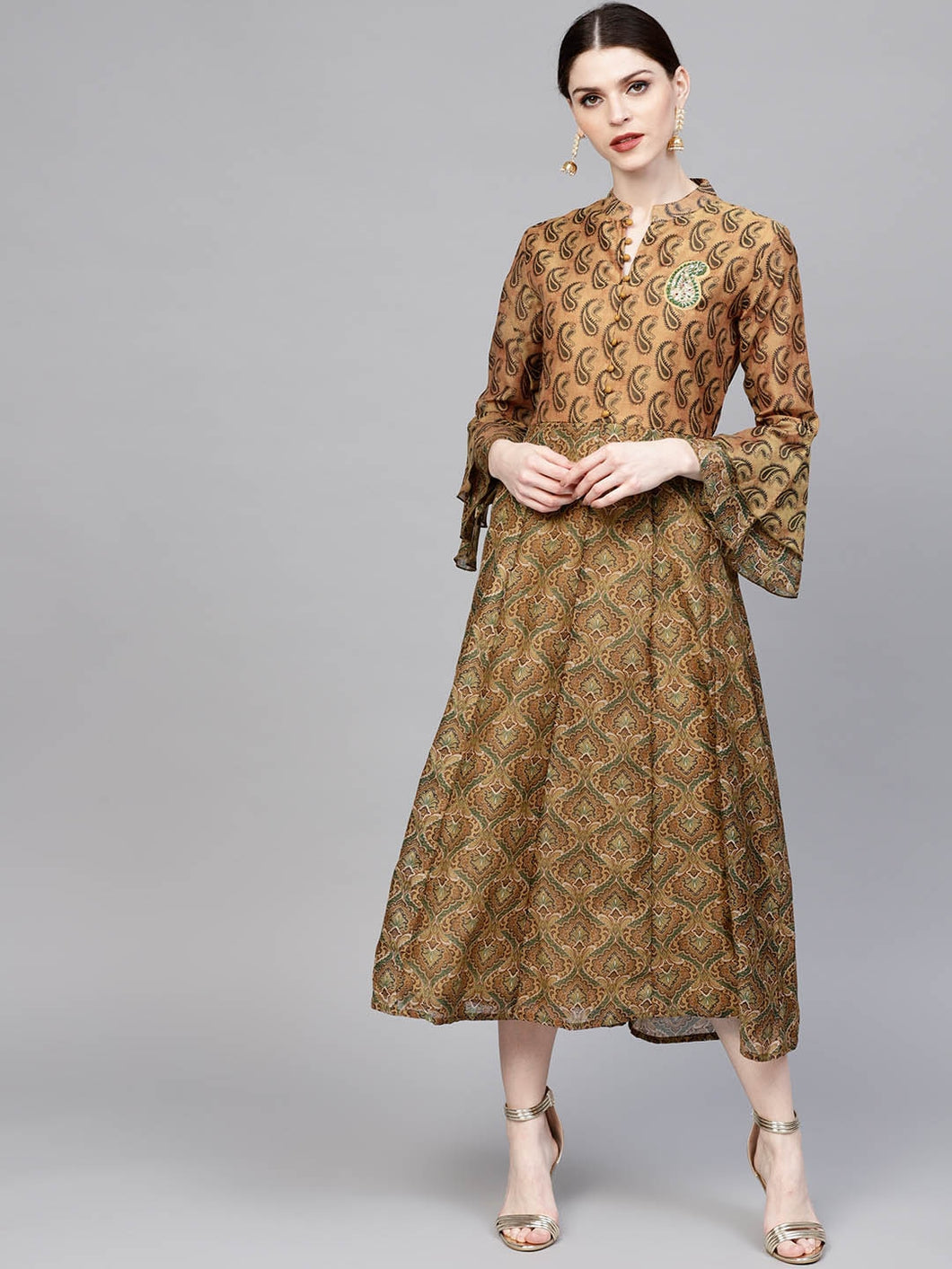 Yufta Women Mustard Brown Printed Midi A-Line Dress-S-Mustard
