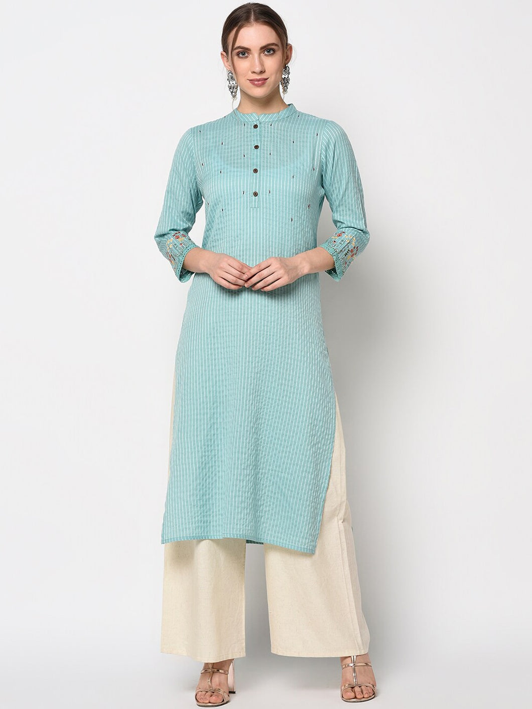 Yufta Women Green Striped Straight Kurta