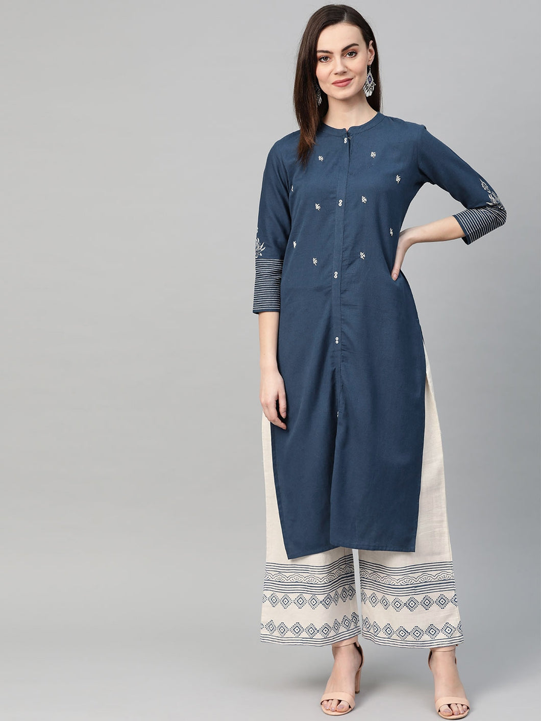 Navy Blue & Off-White Embroidered Yoke Design Kurta with Hand Block Printed Palazzos