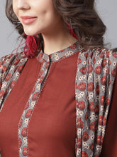 Load image into Gallery viewer, Yufta Women Rust Red Printed Layered A-Line Kurta
