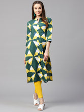 Load image into Gallery viewer, Yufta Women Green & Yellow Printed Straight Kurta