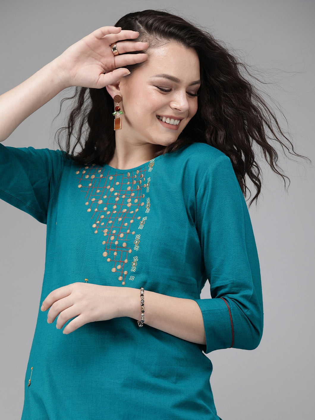 Women Teal Blue Embroidered straight Kurta