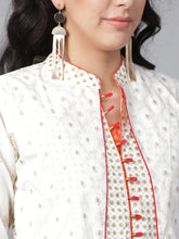 Load image into Gallery viewer, Yufta Women White & Golden Printed Layered A-Line Kurta