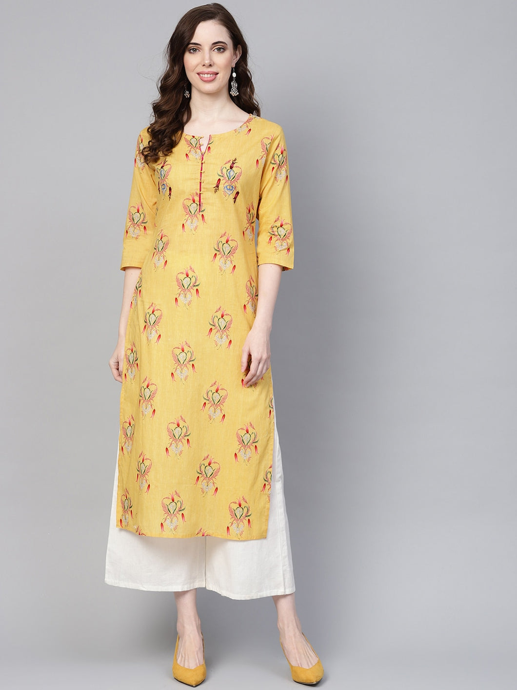 Yufta Women Yellow & Pink Screen Print Straight Kurta