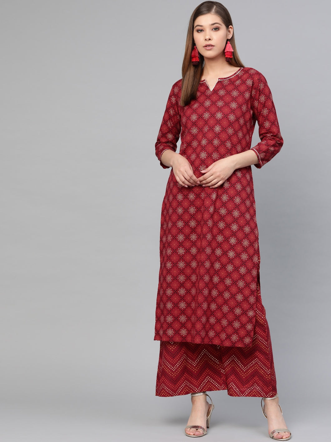 Women Maroon & Golden Printed Kurta with Palazzos