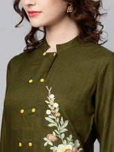 Load image into Gallery viewer, Yufta Women Olive Green Solid Straight Kurta with Embroidered Detail