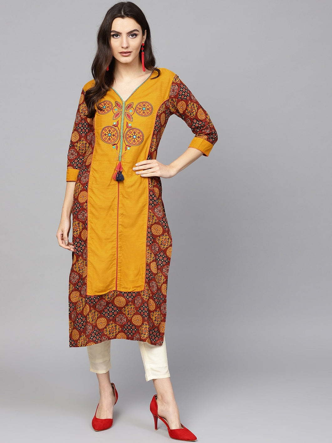 Yufta Women Mustard Yellow & Rust Brown Printed Straight Kurta