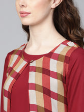 Load image into Gallery viewer, Yufta Women Maroon Solid Straight Kurta with Checked Layer
