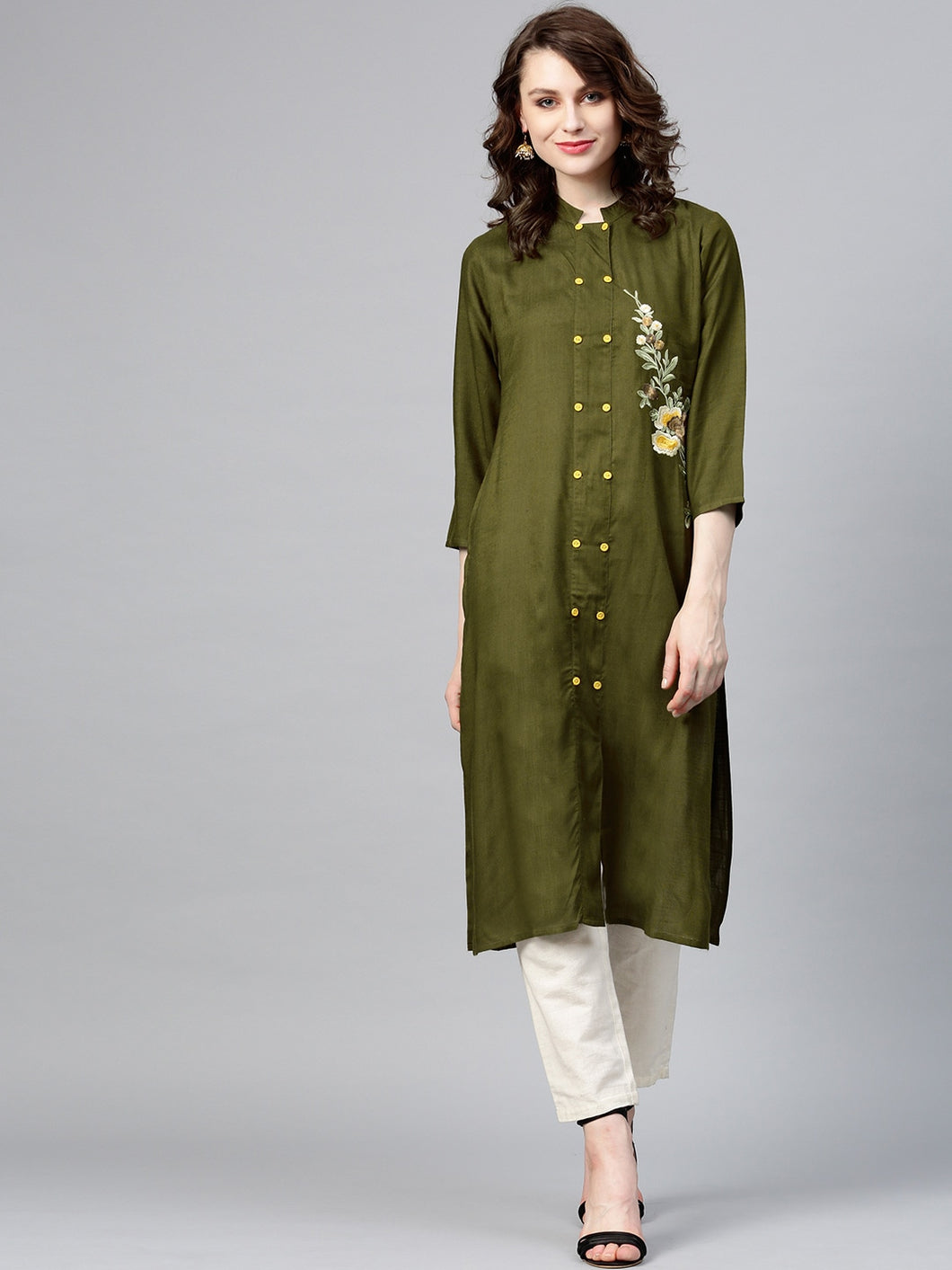 Yufta Women Olive Green Solid Straight Kurta with Embroidered Detail