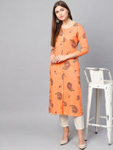 Load image into Gallery viewer, Yufta Women Peach-Coloured & Red Printed Straight Kurta