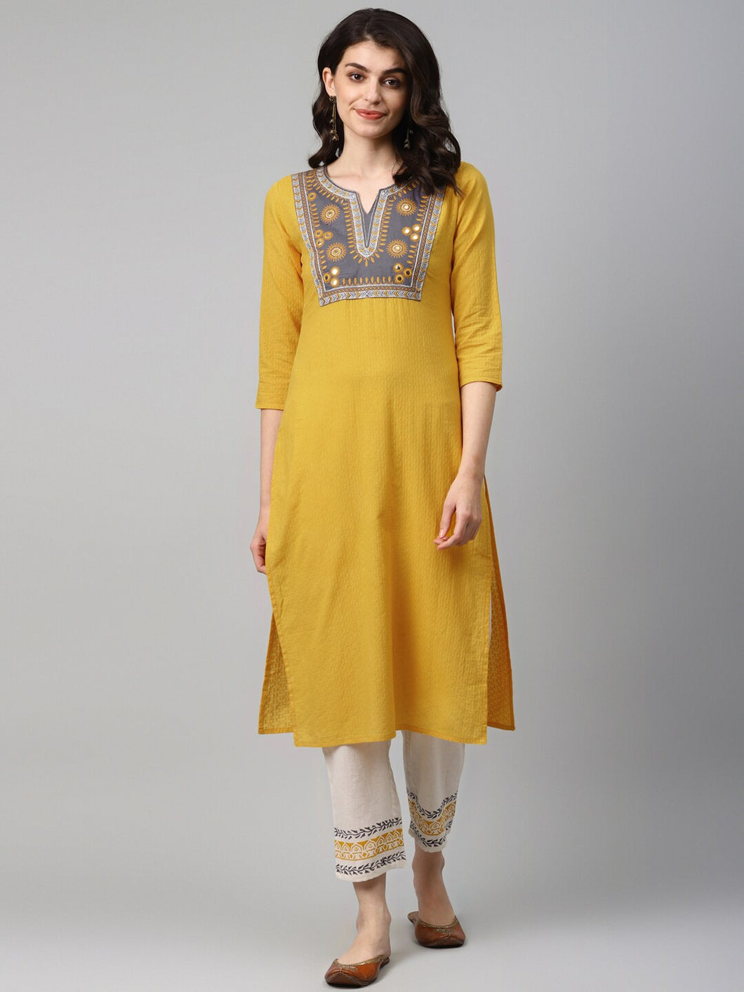 Embroidered Cotton Dobby Kurta with hand block palazzo