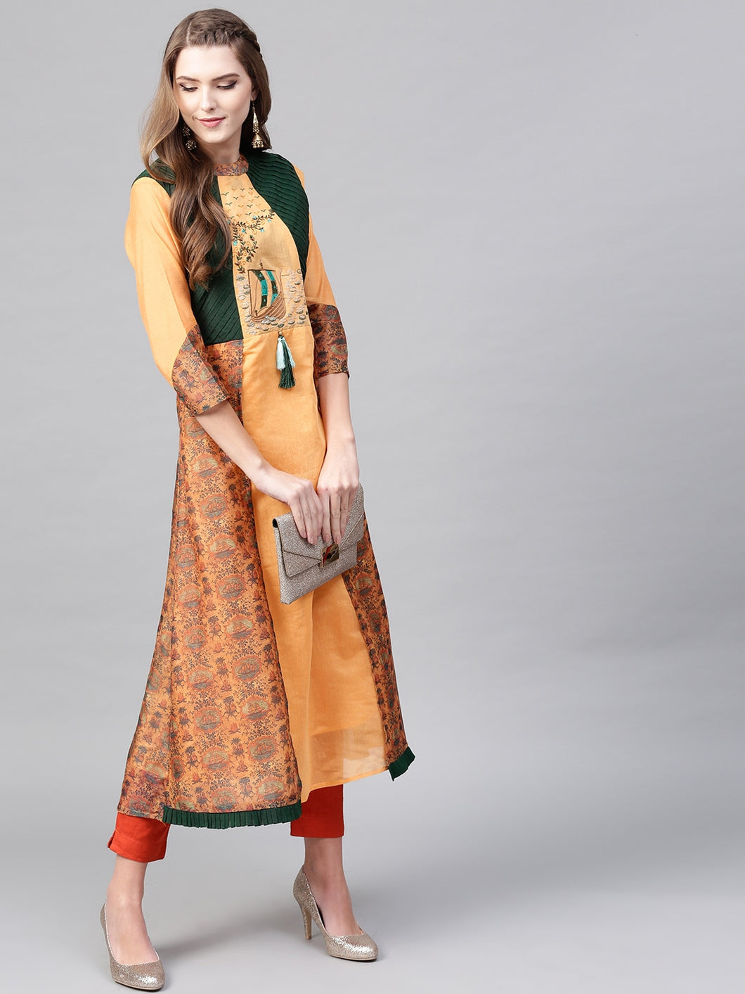 Yufta Women Orange & Green Printed Layered A-Line Kurta