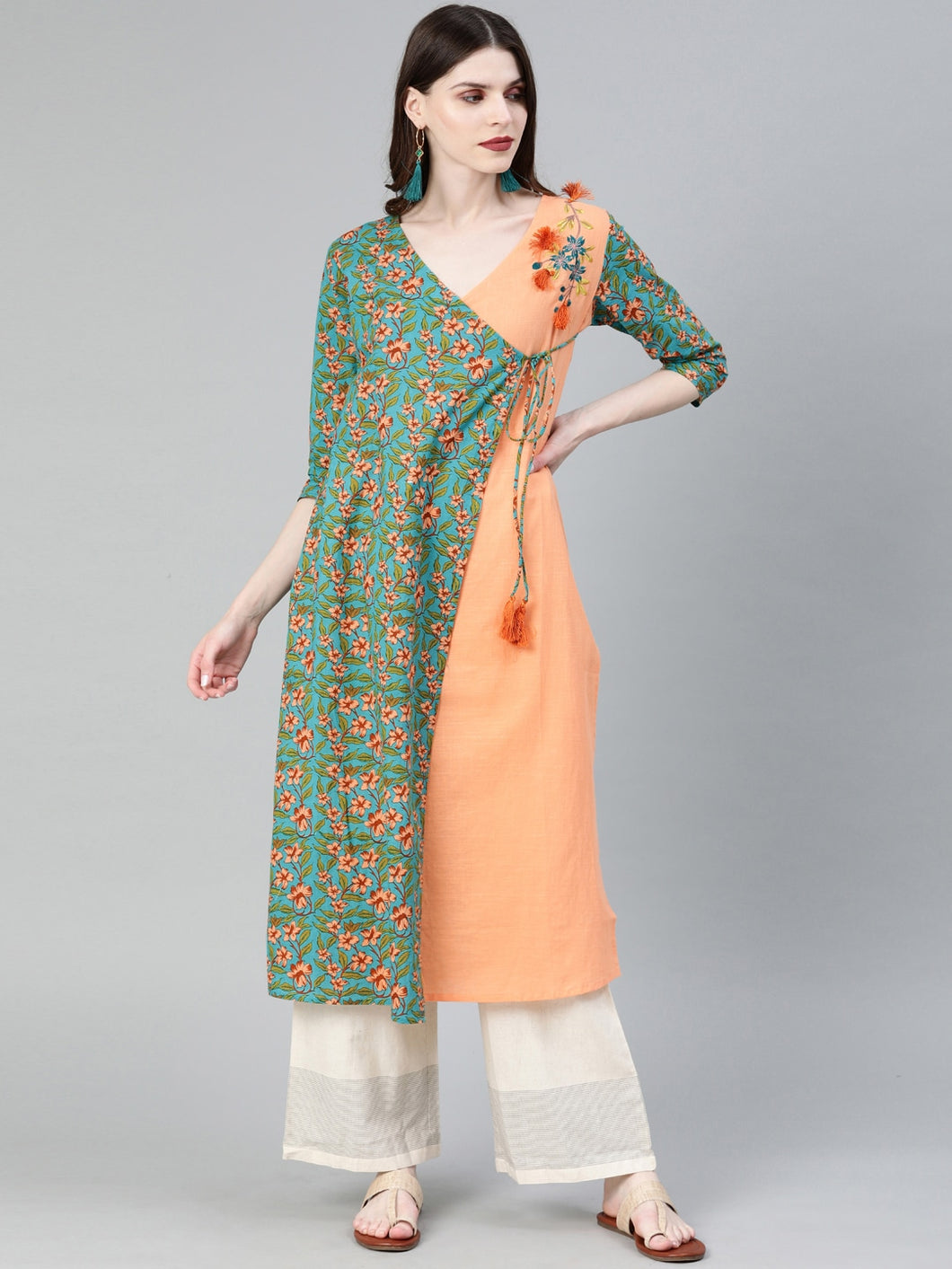 Yufta Women Turquoise Blue & Peach-Coloured Embroidered A-Line Kurta