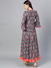 Load image into Gallery viewer, Yufta Women Blue & Coral Orange Printed Anarkali Kurta