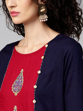 Load image into Gallery viewer, Yufta Women Maroon & Navy Embroidered Printed Straight Kurta