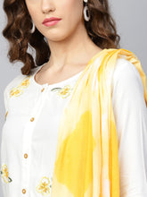 Load image into Gallery viewer, Yufta Women White & Yellow Embroidered Kurta with Palazzos & Dupatta