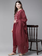 Load image into Gallery viewer, Yufta Maroon Embroidered Kurta With Palazzo & Dupatta