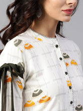 Load image into Gallery viewer, Yufta Women Off-White & Mustard Yellow Quirky Print A-Line Asymmetric Kurta