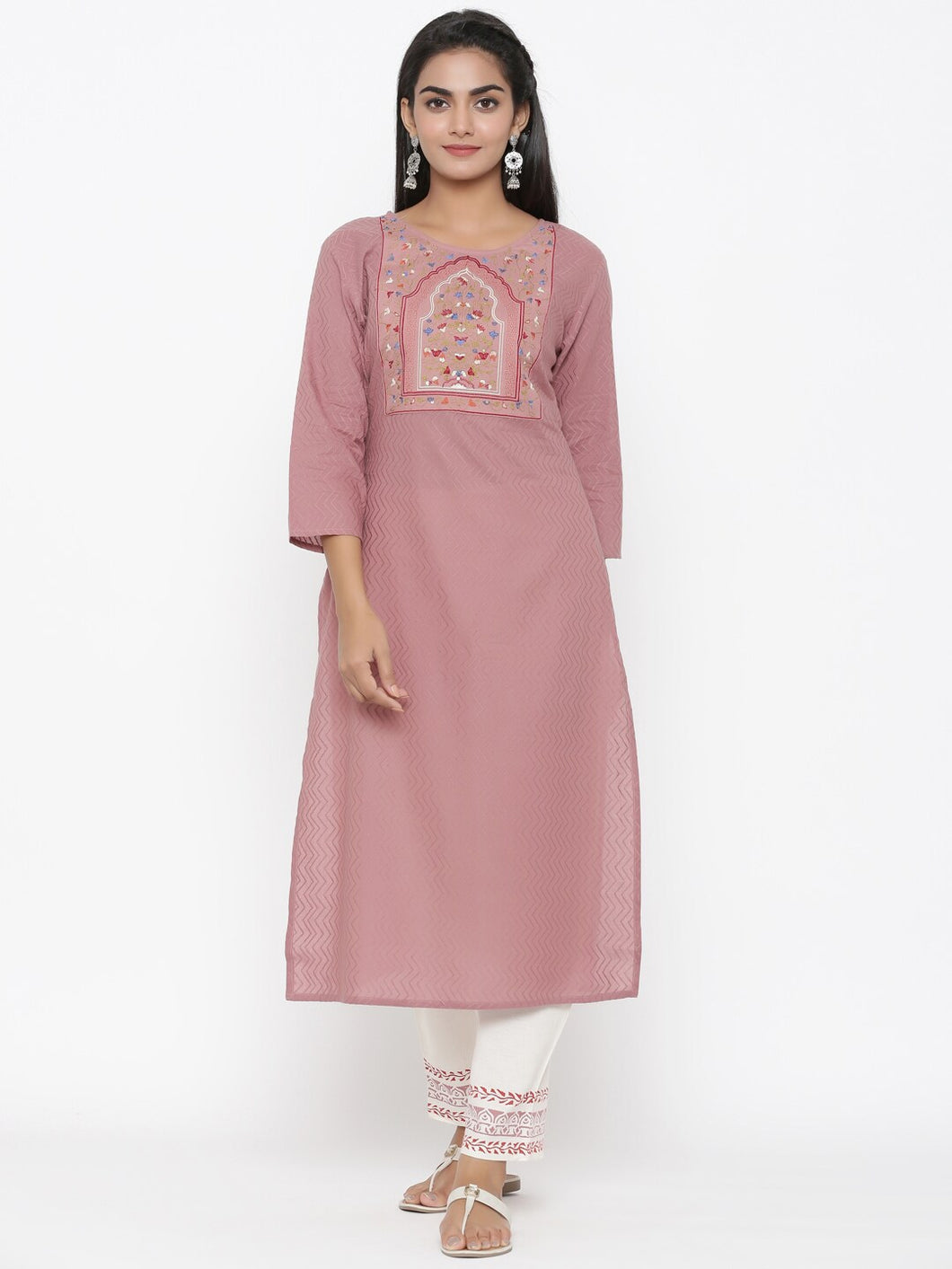 Yufta Embroidered Dobby Kurta with hand block Palazzo
