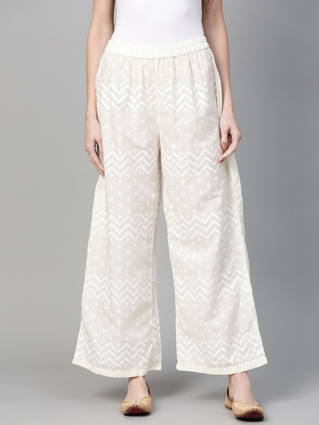 Yufta Women Off-White Printed Wide Leg Palazzos