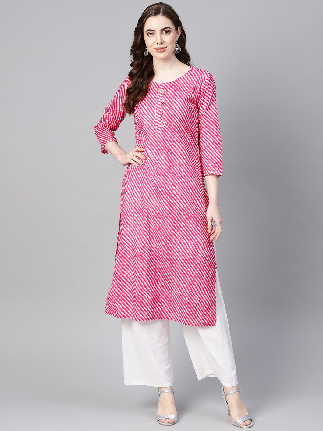 Women Pink & White Leheriya Print Straight Kurta