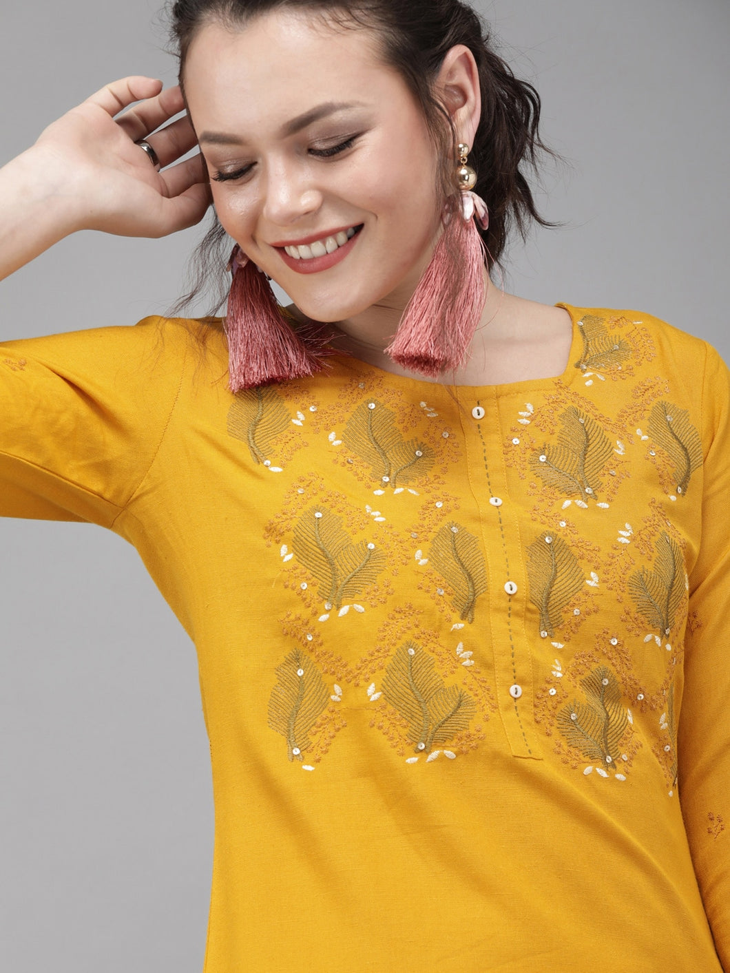 Yufta Women Mustard Yellow & Cream-Coloured Embroidered Kurta with Palazzos