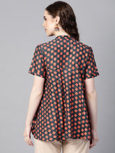 Load image into Gallery viewer, Yufta Charcoal Grey & Rust Orange Printed Tunic-S-Charcoal