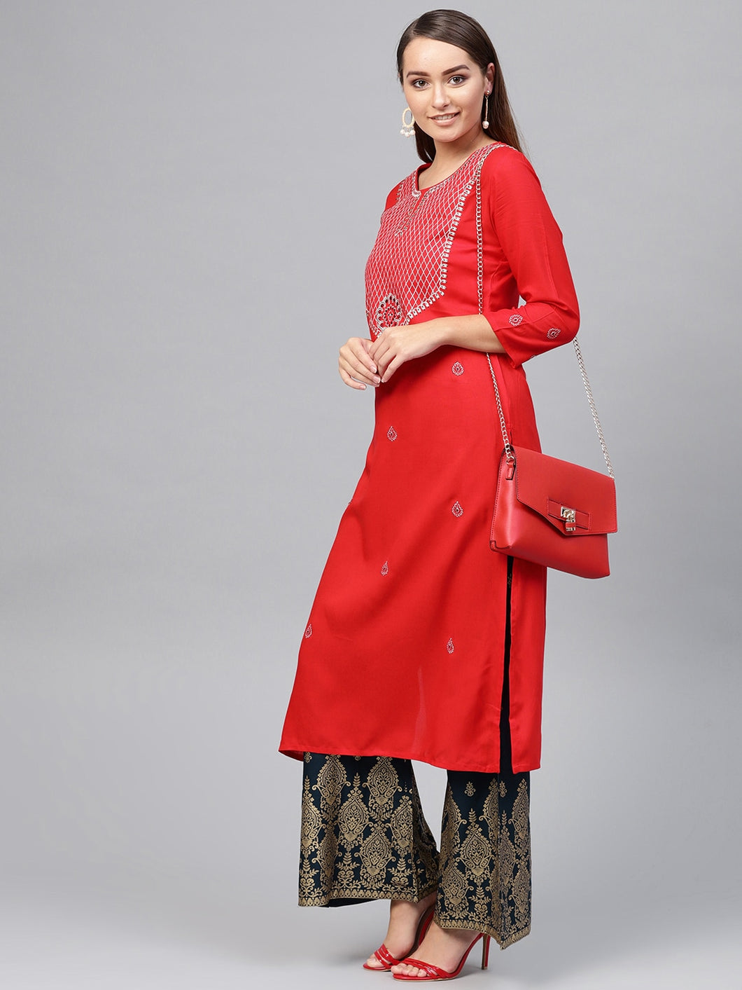Yufta Women Red & Navy Blue Embroidered Kurta with Palazzos
