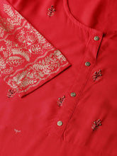 Load image into Gallery viewer, Yufta Women Red & Golden Foil Printed A-Line Kurta
